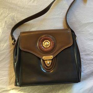 Black & Brown Vintage Faux Leather Saddlebag